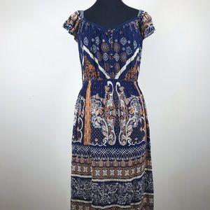 NWT Altar'd State Blue & Mustard Maxi Dress Size L